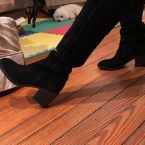 "Over-the-knee black Suede boots with 2"" heel"